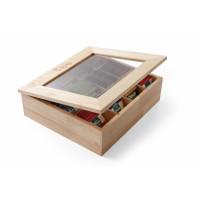 Teebox aus Holz mit Sichtfenster
