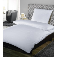 Kopfkissenbezug, Satin Feinstreifen 10 mm, 100% Baumwolle, mit Hotelverschluss, weiß, 40 x 42 cm + 12 cm HV