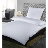 Kopfkissenbezug, Satin Feinstreifen 10 mm, 100% Baumwolle, mit Hotelverschluss, weiß, 80 x 40 cm + 20 cm HV