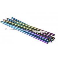 APS Trinkhalme Edelstahl BIG - Regenbogen 10 Stück inklusive einer Reinigungsbürste