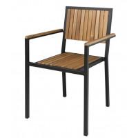 Bolero Stahl- und Akazienholzstühle mit Armlehnen