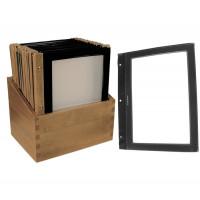 5 Einlegfolien, schwarz, für Speisekartenmappe 5830 (Holz)