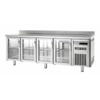 Kühltisch Premium 4/0 mit Aufkantung und Glastüren - EN 600x400