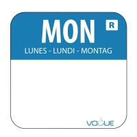 Wochentagetiketten Mo/blau entfernbar - 1.000 Stück