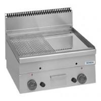Gas-Grillplatte Dexion Serie 66 - 60/60 1/2 glatt, 1/2 gerillt, verchromt Tischgerät | Kochtechnik/Grillplatten/Gas-Grillplatten