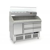 Pizzatisch PROFI Mini 1/4 mit Kühlaufsatz | Kühltechnik/Kühltische/Pizza-Kühltische