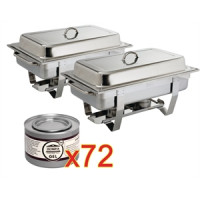 2 x Chafing Dish ECO mit 72 Brennpasten