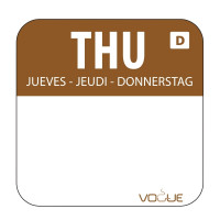 Wochentagetiketten Do/braun wasserlöslich - 1.000 Stück