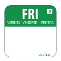Wochentagetiketten Fr/grün wasserlöslich - 1.000 Stück